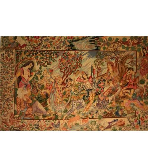 Tapis Tabriz tableau d'après le livre de Khayam (poète persan) GALAXY TAPIS 4